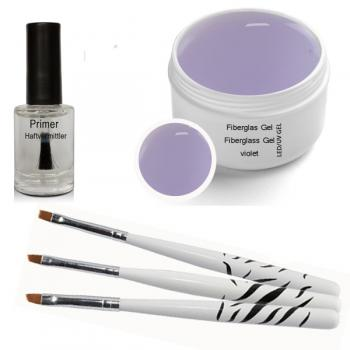LED UV fiberglass gel  violet clear 30 ml incl. primer, Brush Set 3 pcs