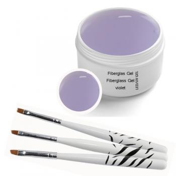 LED UV fiberglass gel VIOLET clear 30 ml incl. Brush Set 3 pcs