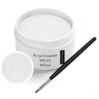 Acryl Pulver Weiss 30g inkl. Acrylpinsel