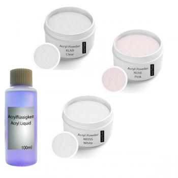 Acrylic powder Set incl. acrylic liquid 100 ml,  Clear 30g, Rose 30g, White30g