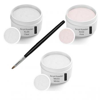Acrylic powder 3 x 30 g incl. Acrylic Brush cat (Powder Clear 30g, Rose 30g, White 30g)