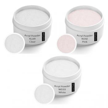 Acrylic powder Set,  Clear 30g, Rose 30g, White 30g