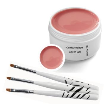 UV Builder - Camouflage Gel Cover 30ml  incl. 3 pcs. Brush set