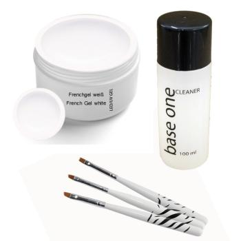 UV Classic  French Gel white 5ml incl. 3 pcs. Brush set and Cleaner 100ml