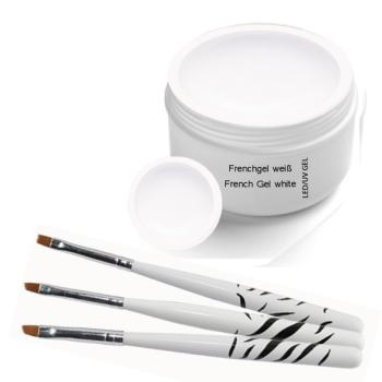 UV Classic  French Gel white 30 ml   incl. 3 pcs. Brush set